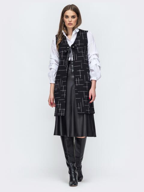 Чёрный жилет из букле с принтом - 45275, фото 1 – интернет-магазин Dressa