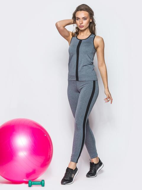 Комплект для фитнеса с планкой на майке серый - 12800, фото 2 – интернет-магазин Dressa