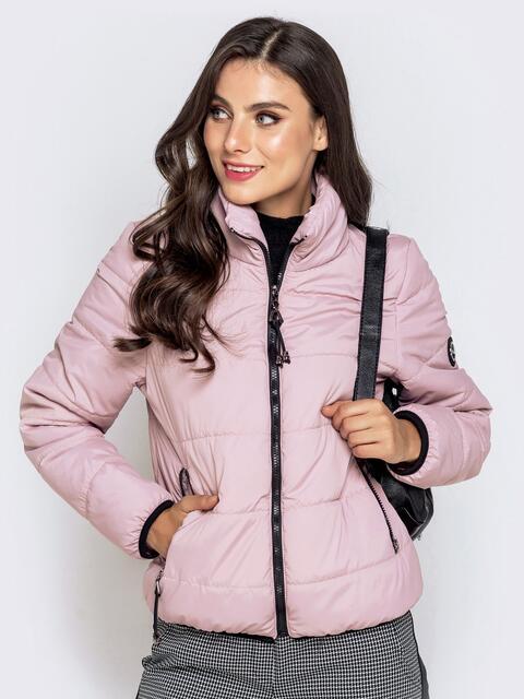 Куртка пудрового цвета с карманами на молнии 40626, фото 1