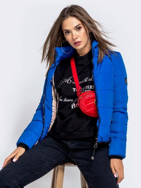Куртка синего цвета с карманами на молнии 40628, фото 1