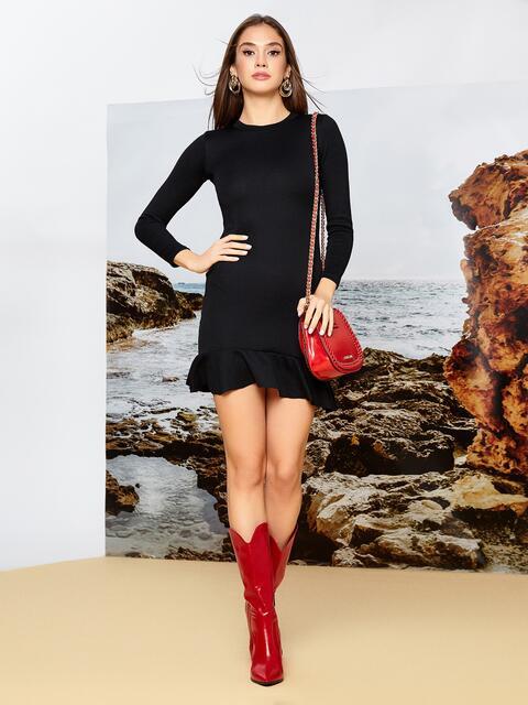 Платье из трикотажа чёрного цвета с оборкой по низу - 42278, фото 1 – интернет-магазин Dressa