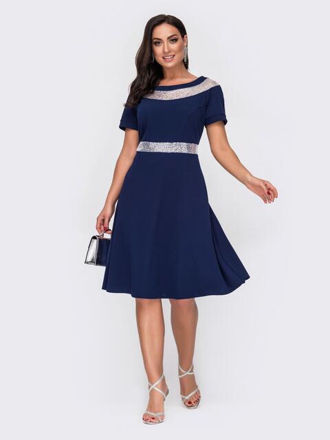 Расклешенное платье батал с пайетками по вырезу тёмно-синее 52153, фото 1