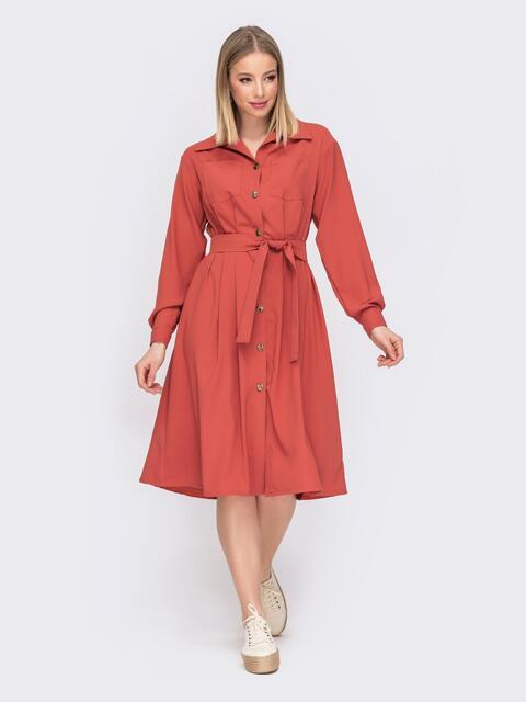 Расклешенное платье-рубашка терракотового цвета 45639, фото 1