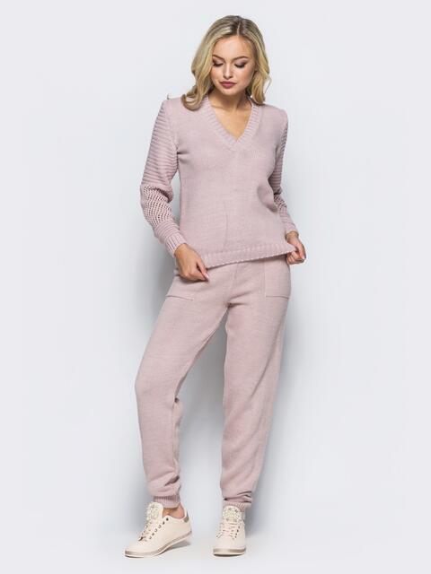 Розовый комплект с накладными карманами на брюках - 16088, фото 2 – интернет-магазин Dressa