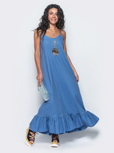 Сарафан из льна в этно-стиле с оборкой по низу синий - 12641, фото 1 – интернет-магазин Dressa