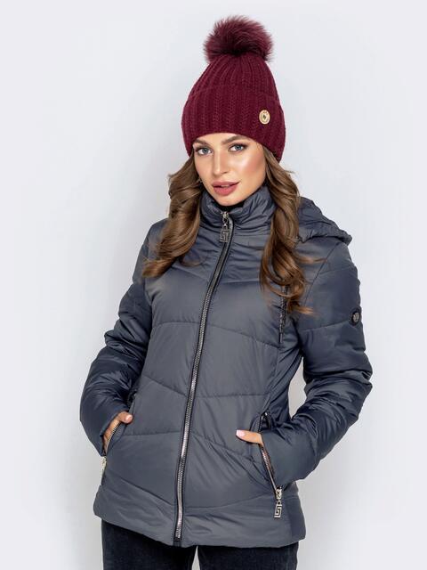 Серая куртка с воротником-стойкой и съёмным капюшоном 40629, фото 1