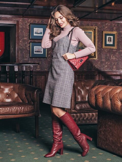 Серый шерстяной сарафан на кожаных бретелях - 19174, фото 1 – интернет-магазин Dressa