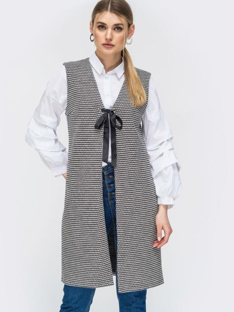 Серый жилет из букле с принтом - 45276, фото 1 – интернет-магазин Dressa