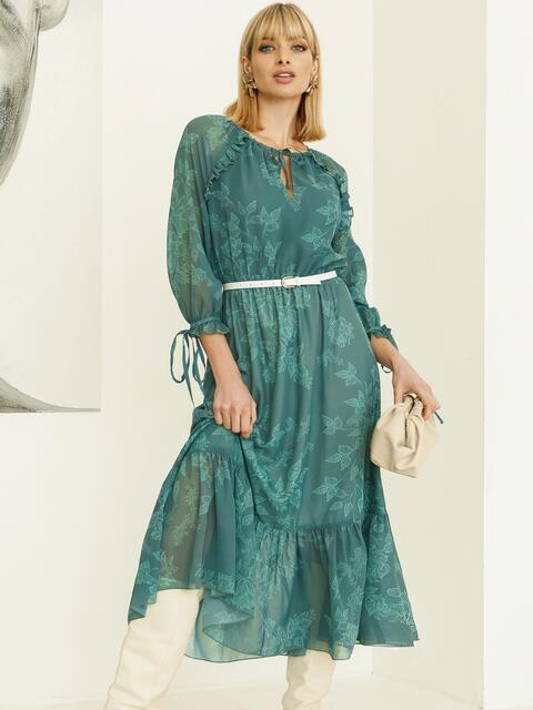 Шифоновое платье-миди с принтом и воланом по низу зеленое 52964, фото 1