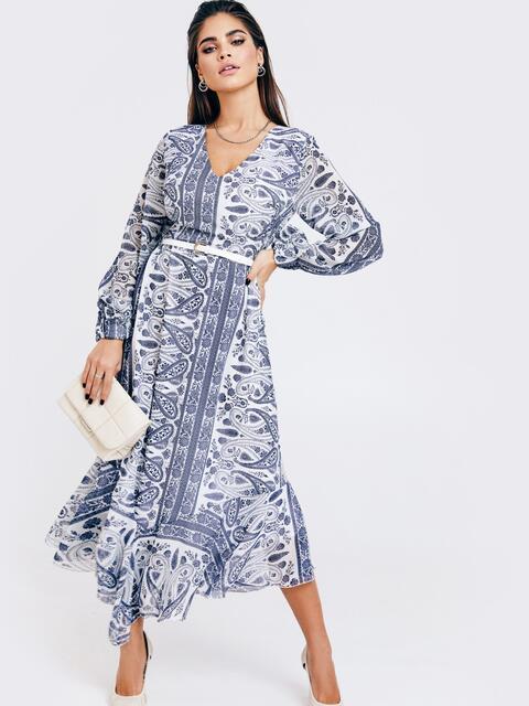 Шифоновое платье с принтом и асимметричным подолом белое 52965, фото 1