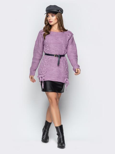Сиреневый свитер oversize с прошитыми косами спереди - 20140, фото 1 – интернет-магазин Dressa
