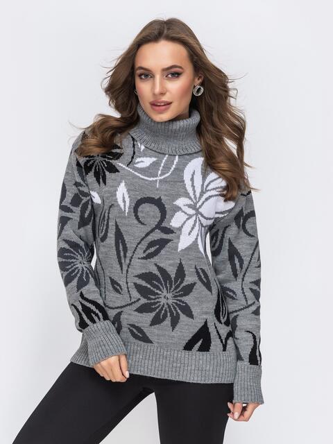 Свитер с цветочным узором серый - 43183, фото 1 – интернет-магазин Dressa