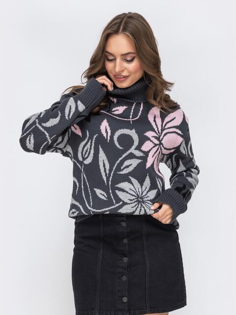 Свитер с цветочным узором тёмно-серый - 43182, фото 1 – интернет-магазин Dressa