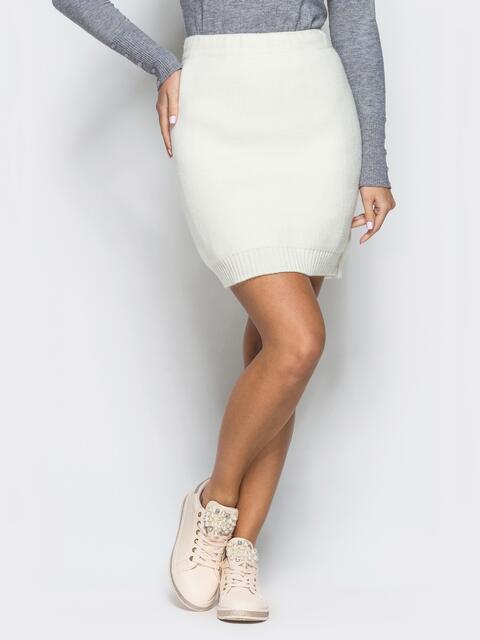Юбка белого цвета мелкой вязки - 17122, фото 1 – интернет-магазин Dressa
