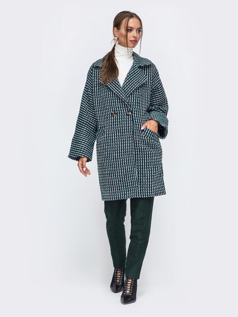 Зеленое двубортное пальто с прорезными карманами спереди 50385, фото 1