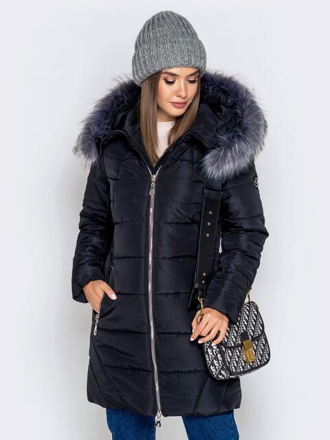 Зимняя куртка чёрного цвета с капюшоном 40633, фото 1
