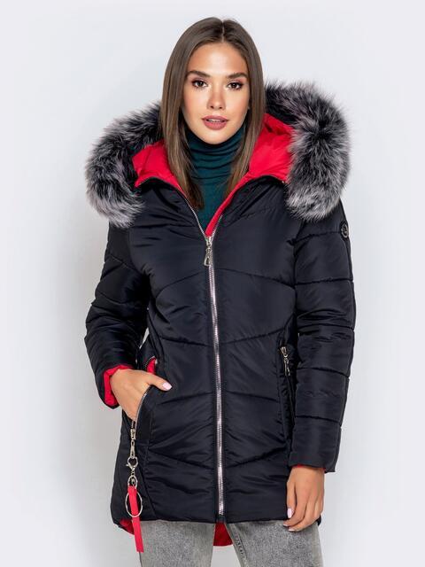 Зимняя куртка с удлиненной спинкой и капюшоном чёрная - 40631, фото 1 – интернет-магазин Dressa
