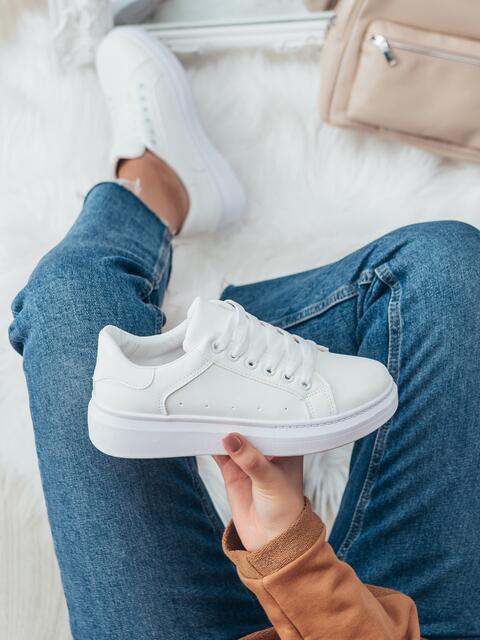 Белые кроссовки из искусственной кожи белого цвета 50472, фото 1