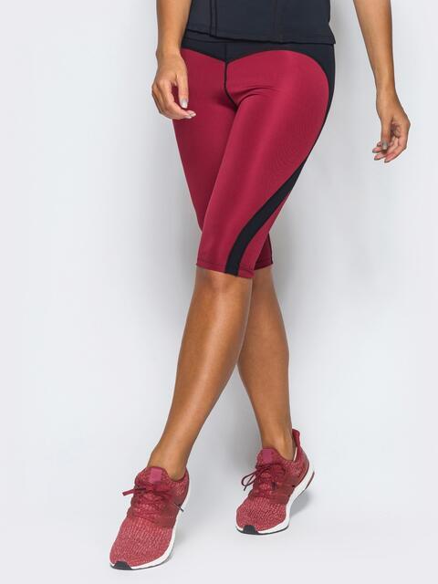 Бриджи бордового цвета из плотного бифлекса - 17140, фото 1 – интернет-магазин Dressa