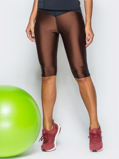 Бриджи коричнего цвета из плотного бифлекса - 17141, фото 1 – интернет-магазин Dressa