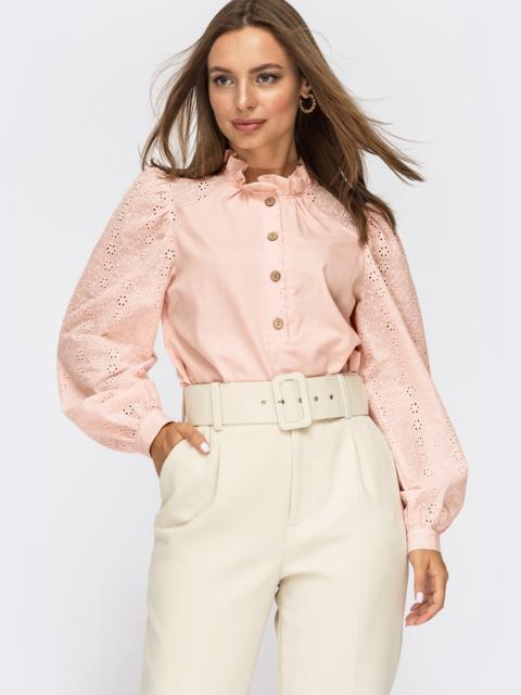 Хлопковая блузка с рюшей на горловине пудровая 54631, фото 1