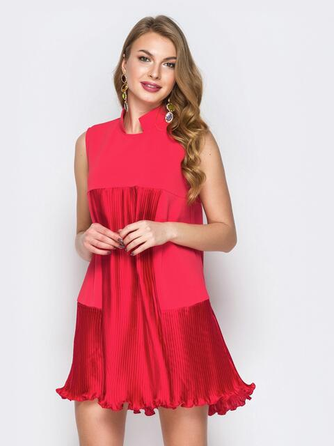 Красное платье с плиссированными вставками - 20003, фото 1 – интернет-магазин Dressa