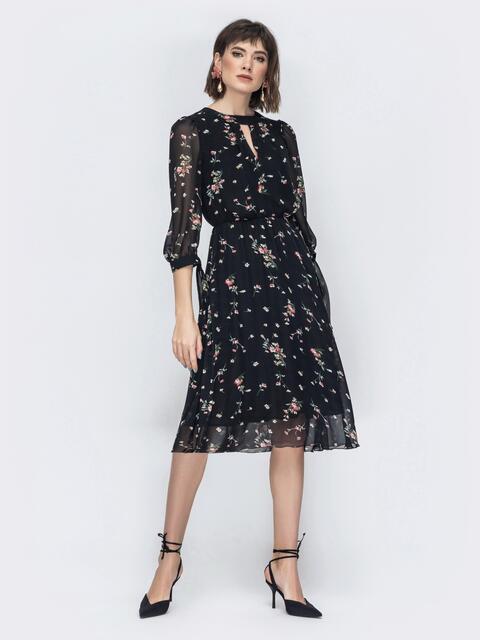 """Шифоновое платье-миди чёрного цвета с вырезом """"капля"""" 45071, фото 1"""