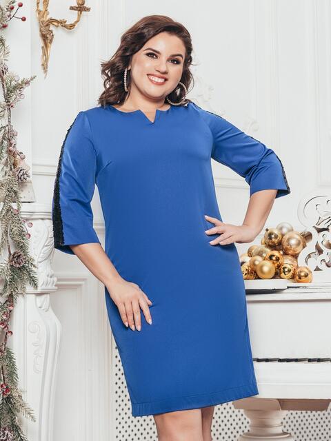 Синее платье со вставками из пайеток на рукавах - 43384, фото 1 – интернет-магазин Dressa
