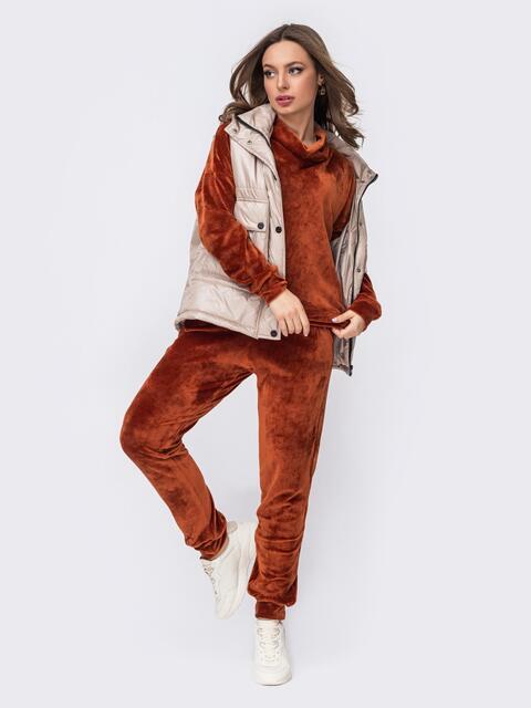 Брючный костюм из велюра с кофтой терракотовый 53041, фото 1