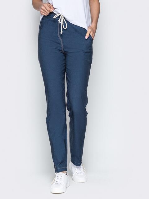 Чёрные брюки из джинса на резинке по талии - 21052, фото 1 – интернет-магазин Dressa