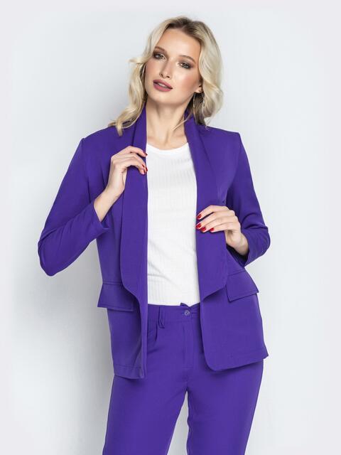 Фиолетовый жакет без застежек с карманами-обманками - 20836, фото 1 – интернет-магазин Dressa