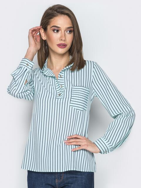 Голубая блузка в полоску пуговицами на полочке - 19294, фото 1 – интернет-магазин Dressa