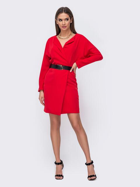 Короткое платье красного цвета с цельнокроеным рукавом 52379, фото 1