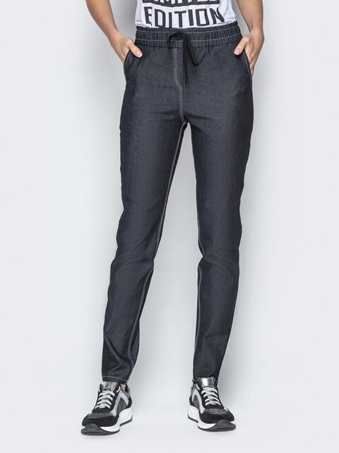 Лёгкие джинсы чёрного цвета на резинке по талии - 21053, фото 1 – интернет-магазин Dressa