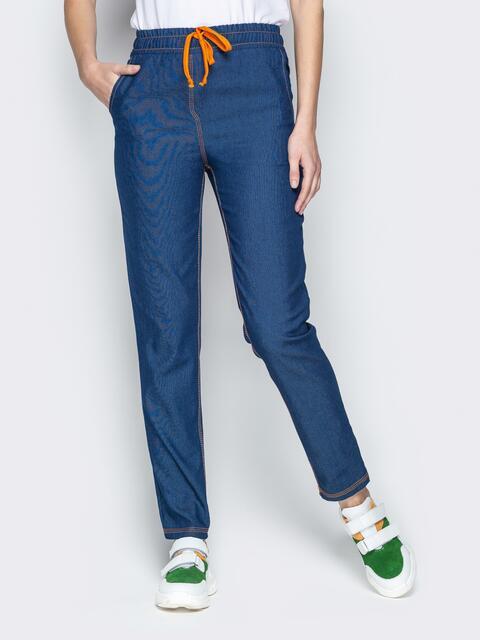 Лёгкие джинсы синего цвета на резинке по талии - 21054, фото 1 – интернет-магазин Dressa