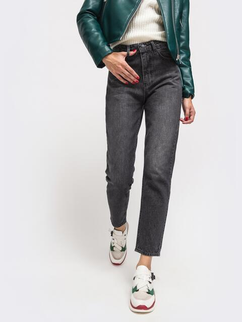 Осенние джинсы чёрного цвета на молнии - 41940, фото 1 – интернет-магазин Dressa