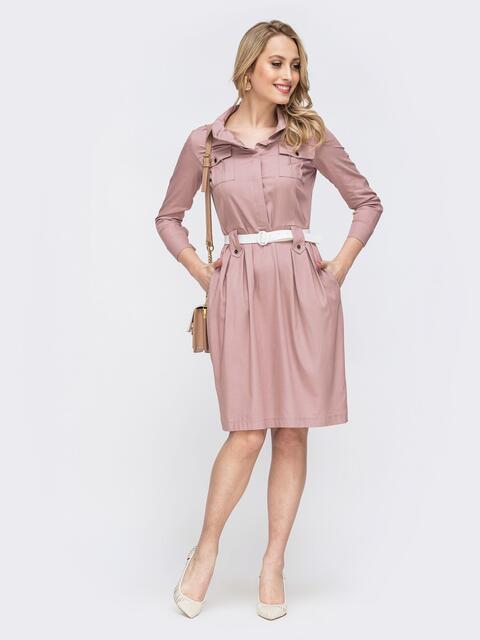 Розовое платье со шлевками 45787, фото 1