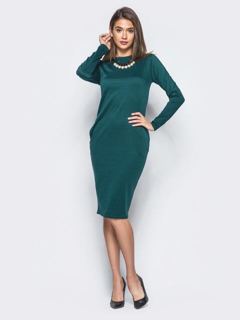 Трикотажное платье зелёного цвета с карманами на полочке - 16429, фото 1 – интернет-магазин Dressa