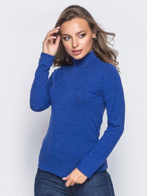 Трикотажный гольф синего цвета с длинными рукавами - 16317, фото 1 – интернет-магазин Dressa