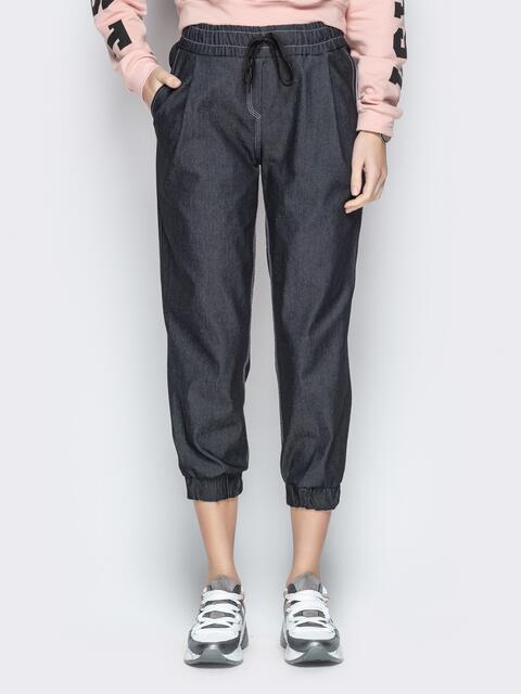 Укороченные брюки из черного джинса с резинкой по талии - 21058, фото 1 – интернет-магазин Dressa