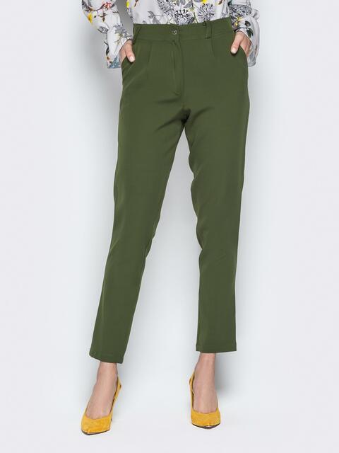 Укороченные брюки со шлёвками и карманами хаки - 20830, фото 1 – интернет-магазин Dressa