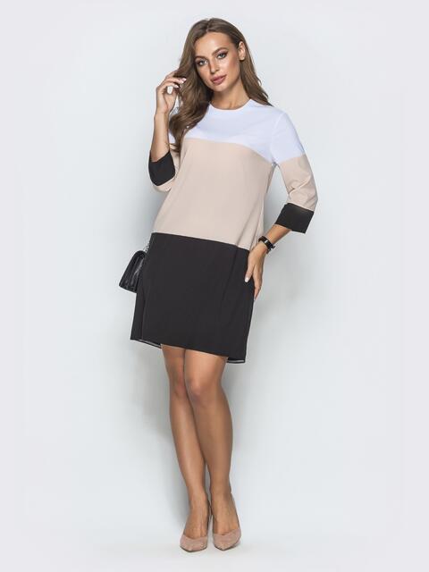 Бежевое платье-трапеция с тонким поясом - 39897, фото 1 – интернет-магазин Dressa