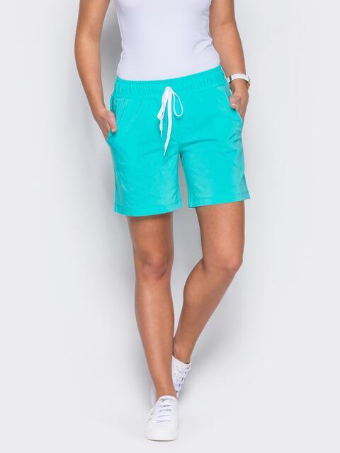 Бирюзовые шорты с поясом на резинке - 12110, фото 1 – интернет-магазин Dressa