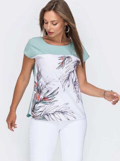 Блузка из софта свободного силуэта мятная 49092, фото 1
