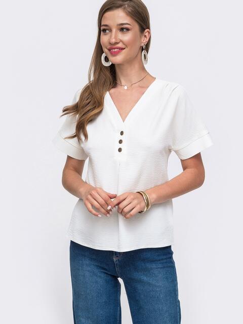 Блузка молочного цвета с цельнокроеным рукавом 49417, фото 1