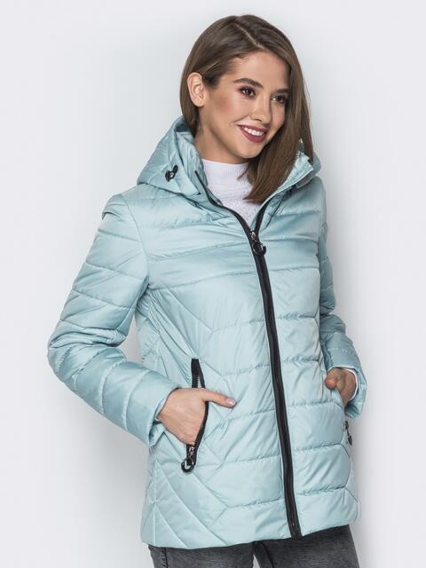 Голубая куртка со съёмным капюшоном и карманами на молнии - 20298, фото 1 – интернет-магазин Dressa