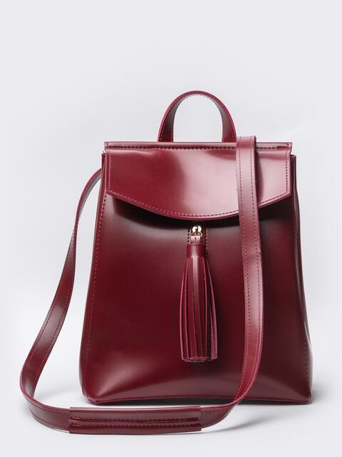 Кожаный рюкзак с клапаном и кисточкой на кармане бордовый - 20560, фото 1 – интернет-магазин Dressa