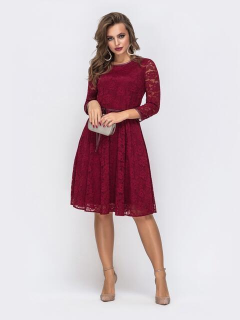 Красное платье из гипюра с расклешенной юбкой - 43038, фото 1 – интернет-магазин Dressa