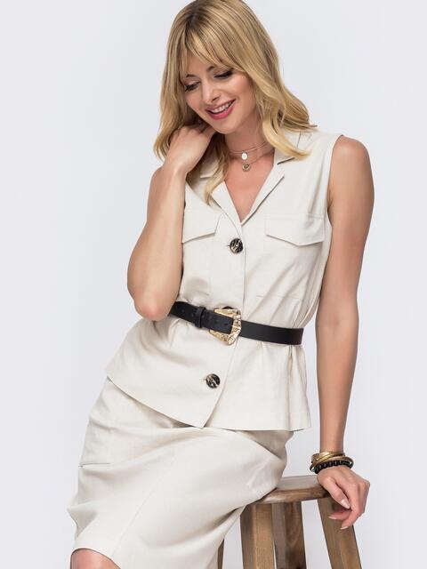 Льняная блузка с накладными карманами бежевая - 49108, фото 1 – интернет-магазин Dressa