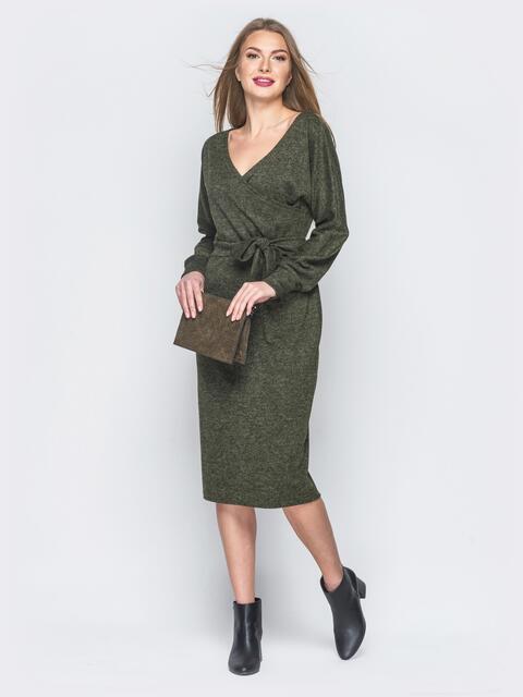 691df70ed78 Платье из ангоры с фиксированным запахом зелёное - 18773